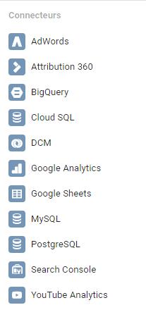 Connecteurs Google Data Studio