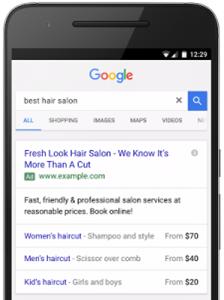 Adwords - Extensions de prix mobile